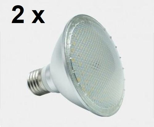2 x 12 Watt PAR 30 LED Lampe, Strahler, Fassung E27, Lichtfarbe warmweiß 2700 Kelvin, 120° Ausstrahlwinkel, 1050 Lumen entspricht ca. 100 Watt Glühlampe. Schutzklasse IP44 für Innen und Außen