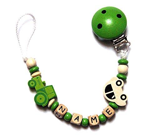 Baby Schnullerkette mit Perlen aus Holz und Wunschname. Grün mit Auto und Traktor (SAMUEL)