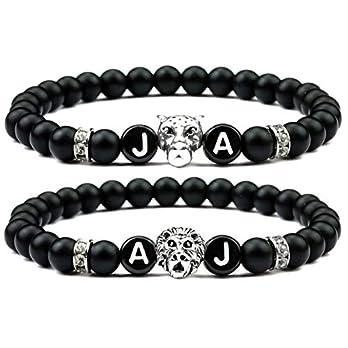 Milosa Partnerarmband mit schwarzen Jadeperlen Leopard (Damen) und Löwe (Herren) mit je 2 Buchstaben, zwei Armbänder für verliebte Pärchen, Freundschaftsarmbänder, Geschenke-Set, couple bracelet gifts
