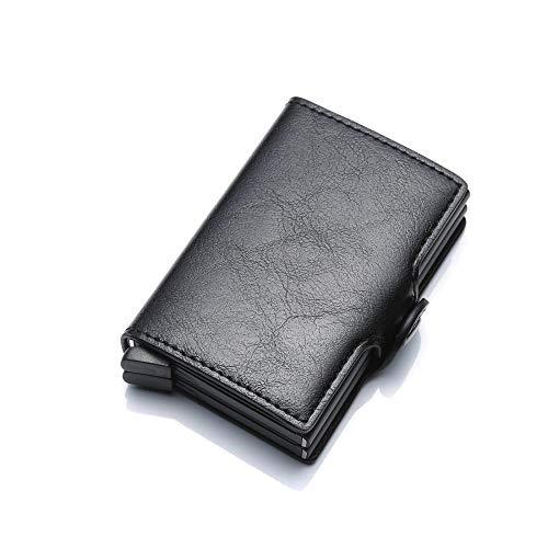Brieftasche Metallkartenhalter RFID-Blockierung Leder Business Id Kreditkarteninhaber Männer Dünne Aluminiumkoffer Brieftasche Mini Geldbörse, Schwarz