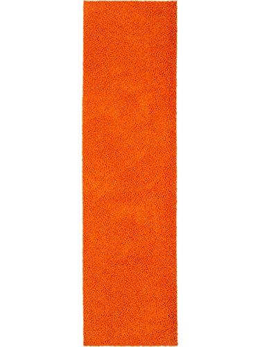 benuta Hochflorteppich Swirls Shaggy Langflor Orange 80x300 cm Kunstfaser schadstofffrei