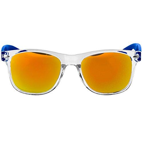 CASPAR SG017 Lunettes de soleil WAYFARER UNISEXE avec monture transparente - plusieurs coloris bleu/miroir doré