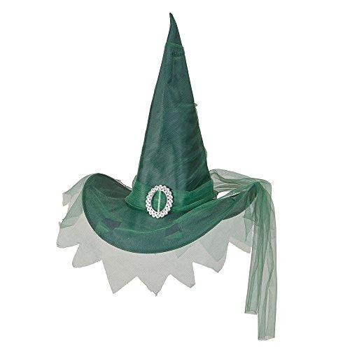 Widmann 51537 - cappello da strega con tulle verde in taglia unica, nero