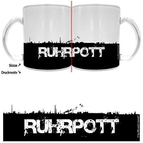 WB wohn trends Tee-Glas mit Rundum Motiv: Ruhrpott Skyline ~ Farbe: Milchglas ~ Kaffee-Tasse mit...