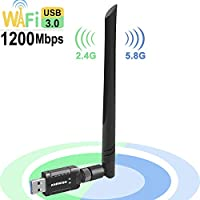 ANEWISH Usb Wifi Adapter 1200mbps Long Range 802.11 AC Dual Band 5g 867mbps /2.4g 300mbps Wireless Adapter with 5DBI High Gain Antenna for Laptop Desktop pc Tablet Phone (THX-1200M WIFI)