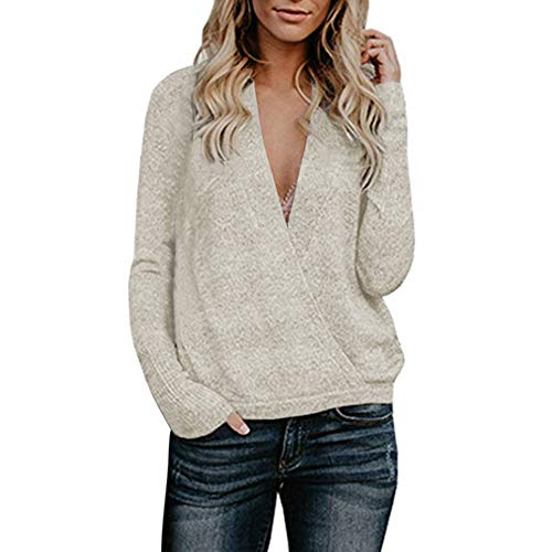 Btruely Pullover Damen V-Ausschnitt Winter Herbst Loose Fit Sweatshirt Gestrickte Langarmshirt Plüsch Jumper Langarm Hausbekleidung -