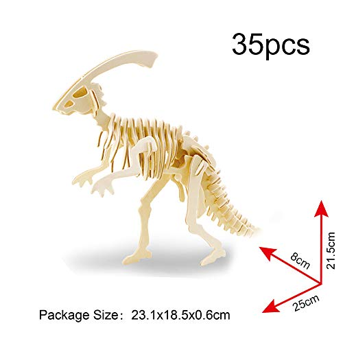 Georgie Porgy 3D Wooden Puzzle Dinosaur Model Collection Woodcraft Construction Kit Kids Jigsaw Toy age 5 Pack of 3(Parasaurolophus Apatosaurus Triceratops)
