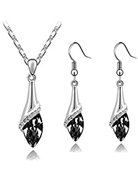 Klaritta Elegant Silver Black Crystal Eye Jewellery Set Drop Earrings & Necklace S807