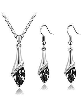 Klaritta Schmuck-Set Ohrringe und Halskette elegant Silber schwarzes Kristallauge S807