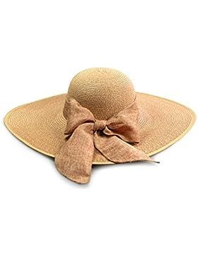 Playa de plegable gorra de ala ancha de mujeres sombrero de paja