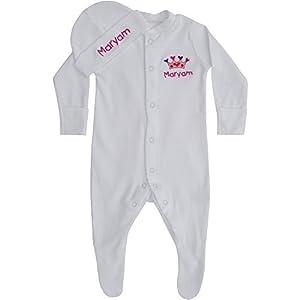 Baby Girl's White Personalised Name Sleepsuit & Hat Gift Set