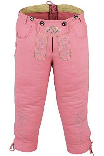 German Wear Damen Trachten Kniebundhose Jeans Hose kostüme mit Hosenträgern in der 4X Farben, Größe:48, Farbe:Rosa
