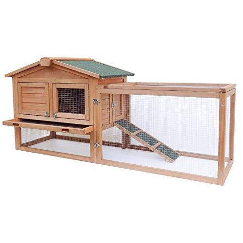 Gabbia xxl per lepri e conigli. più spazio esterno per il rifugio. tetto in abete impermeabilizzato
