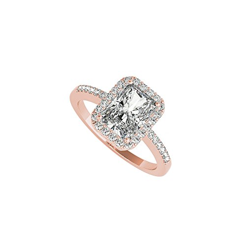 Emerald Cut CZ Halo Engagement Ring 14K Rose Gold