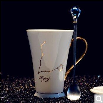 ZHGI 12 costellazione fashion tazza da caffè bone china tazza di porcellana mug regalo creativo (Pesce Tumbler)