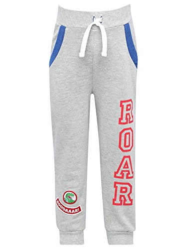 M&Co Dinasaur Roar Boys Cotton Rich Grey MARL Roar Slogan Applique Stretch Waist Cuffed Ankle Joggers