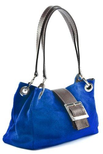 Big Handbag Shop Damen handtasche aus echtem italienischem Leder - echtes italienisches Leder mit Kunsttrim (01 Cobalt Blue - Brown Trim) (Blue Cobalt Handtaschen)