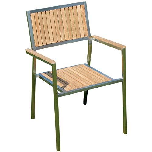 Designer Gartenstuhl mit Armlehne Gartensessel Stapelstuhl Stapelsessel Sessel Kuba-Teak Edelstahl Teak A-Grade stapelbar sehr robust von AS-S