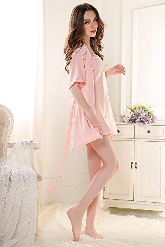 Rainbow Fox Femmes vêtement de nuit sexy vêtements de nuit Creux conception Soie Satin Chemise de nuit pour Dame pink