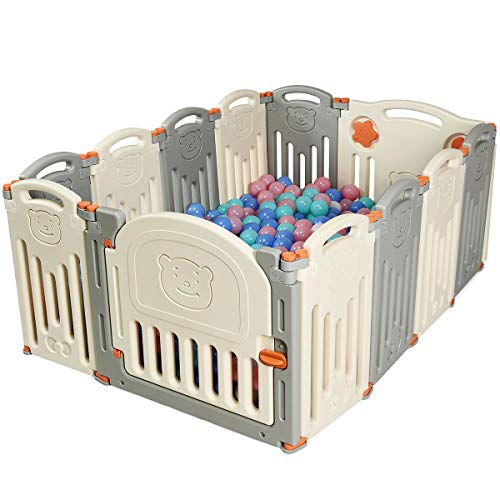 COSTWAY Laufgitter Laufstall Baby, Absperrgitter aus Kunststoff, Krabbelgitter Faltbar, Spielzaun für Kinder, Schutzgitter mit Tür und Spielzeugboard(Beige/12 Stk.)