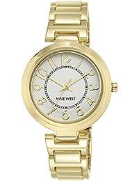 Nine West reloj de cuarzo para mujer con pulsera de aleación de plata esfera analógica pantalla y dorado NW/1892svgb