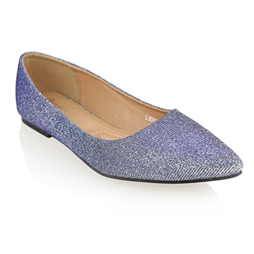 Aarz Womens Ladies Casual Pompes Confort Chaussures Ballerine Taille (or, champagne, argent, gris) silver