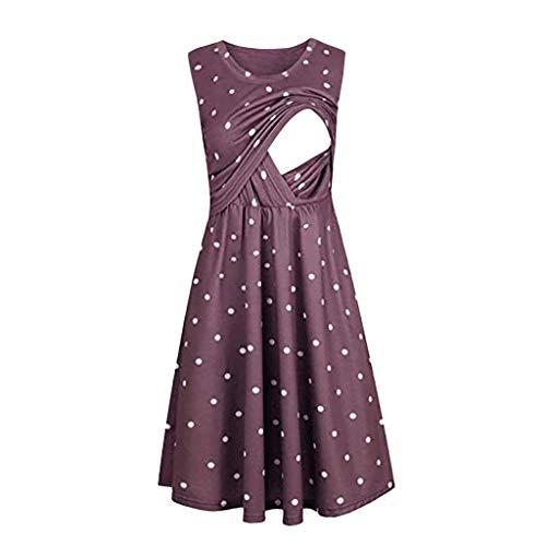 Damen Umstandskleid Sommer Schwangerschaft Kleid Skaterkleid Schönes Stillkleid Mutterschafts Kleid Schwangere Kleid Zum Stillen Umstands Gerafften Diskretes Stretchkleid (Lila.S)