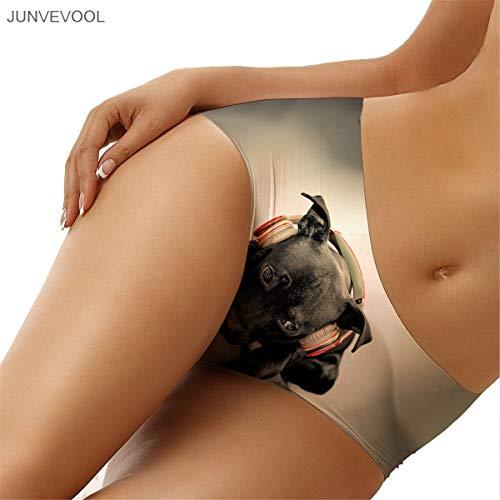 GZGJNK Womens Cotton Underpants Sexy Frauen Lady Unterwäsche Slips Höschen G-String 3D Tattoo Thongs Dessous Cute Smile Dog Print Animal Animal Print Thong