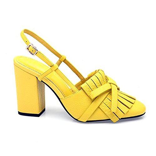 MUMA Pumps Square Head High-Heeled Sandalen 2018 Frühling und Sommer schwarz gelb grün Schuhe mit dicken Heels Sandalen Damenmode Quasten Baotou (Farbe : Gelb, größe : EU39/UK6/CN39)