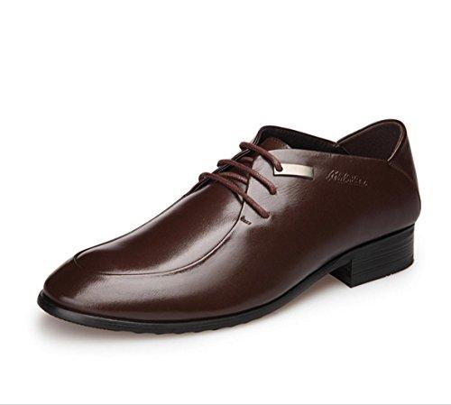 WZG affaires suits Les nouveaux hommes en cuir respirant chaussures de sport hommes britanniques ont souligné chaussures Brown