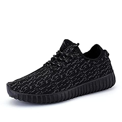 Baskets en maille de camouflage pour hommes / garçons chaussures de sport décontractées d'été et d'automne respirant et léger , black , 39