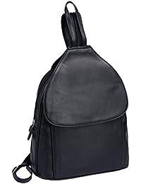 Sac à dos LOUANA, cuir véritable, noir 25,5x33x13cm