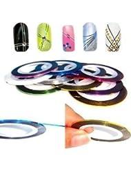 UniqStore 10 Couleurs Différentes Striping Tape Fil Bande Autocollant Sticker Nail Art Ongles