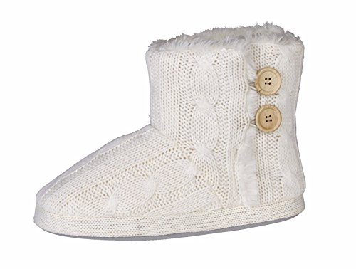 Womens Ladies Snug Boots Knitted Warm Fur Lined Winter Girls Booties Button Size