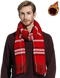 Écharpes à rayures pour femme hommes, longue foulards d hiver épais, cadeau  de 7b48d6c4d4c