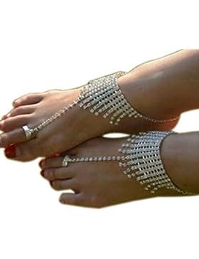 anty-ni playa boda tobillera cadena Rhinestone pie joyería descalzo sandalias