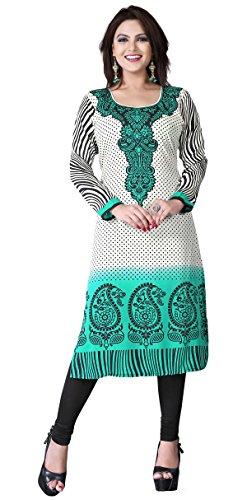 Maple Vêtements Kurti Top Tunique Imprimé Femmes Blouse Inde Vêtements Vert