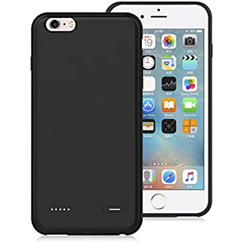 Custodia Cover Batteria Protettiva da 3700mAh per iPhone 6/6s plus, Batteria Power Bank Nero