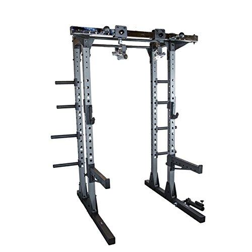 Primal Strength Stealth kommerziellen Fitness Half Power Rack matt GRIGIO mit Drehgelenk Kinn Griffe und Bügelgriff Befestigung