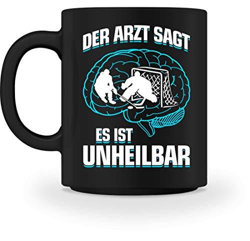 shirt-o-magic Eishockey: .es ist unheilbar - Tasse -M-Schwarz