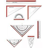Herlitz Zeichengarnitur 8tlg / Dreiecke, Lineale, Winkelmesser, Parabel / rot
