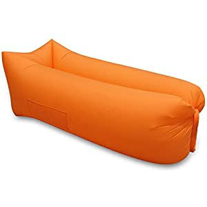 2017 Neue monolage Portable Schnell aufblasbar Sofa Air Bed Lazy Bag Air Bag Orange Amazon