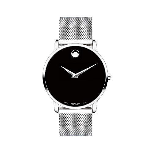 Movado Men's Museum 40mm Steel Bracelet & Case S. Sapphire Swiss Quartz Black Dial Analog Watch 607219