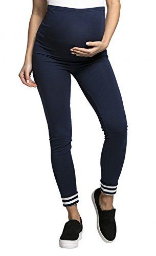 Happy Mama -Umstandsmode Leggings Hose elastische Bund - Damen - 126c (Marine mit Weiß & Marine Streifen, EU 40/42, XL) (Streifen-elastischer Bund)