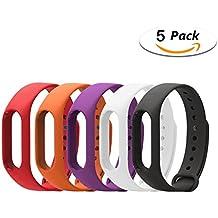 LuckWin Correa de Recambio para XIAOMI Wireless MI BAND 2 Brazalete Pulsera Inteligente Extensibles Coloridos Impermeables ( 5 Pack - Rojo Naranja Lila Blanco Negro )