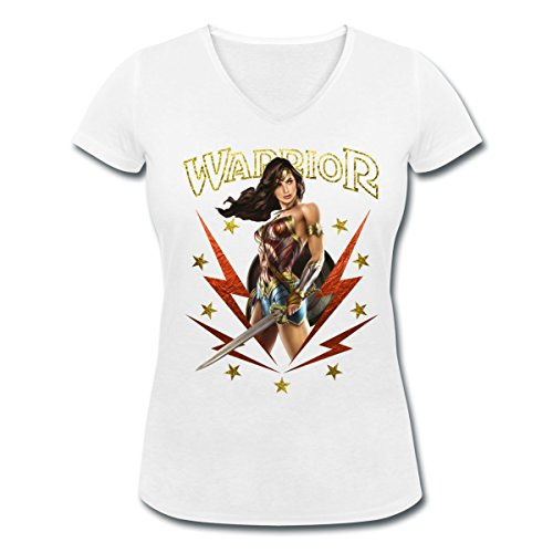 Warner Bros Wonder Woman Guerrière Warrior T-shirt col V Femme de Spreadshirt® Blanc