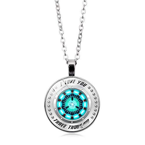 Ich liebe dich 3000 Kreis Anhänger Halskette blau, Tony Stark Arc Reactor, Luxus Schmuck Charm Halskette Liebesgeschenk für Mann Frauen