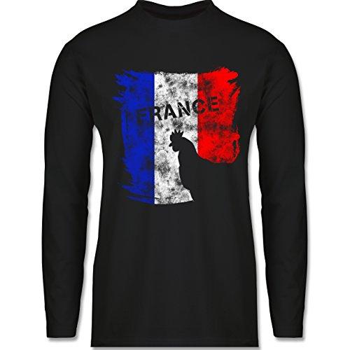 EM 2016 - Frankreich - France mit Hahn Vintage - Longsleeve / langärmeliges T-Shirt für Herren Schwarz
