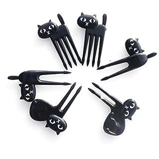 QHGstore 6 teile / satz Schwarze Katze Obst Gabel Kätzchen Mittagessen Garfo Cartoon Kinder Lebensmittel Mini Picks