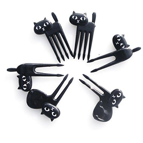 6 Stück Spa Satz (QHGstore 6 teile / satz Schwarze Katze Obst Gabel Kätzchen Mittagessen Garfo Cartoon Kinder Lebensmittel Mini Picks)